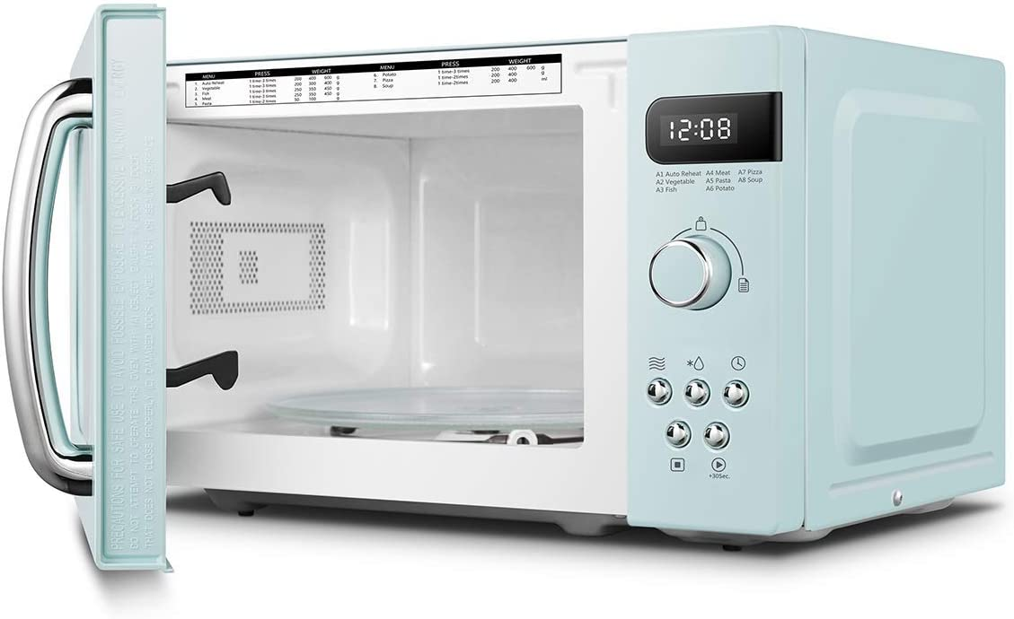 COMFEE' 700 w 20 L Microwave Oven with 5 Cooking Power Levels, Easy Defrost Function, and Kitchen Timer - Fashionable White - CM-M202GSF Green