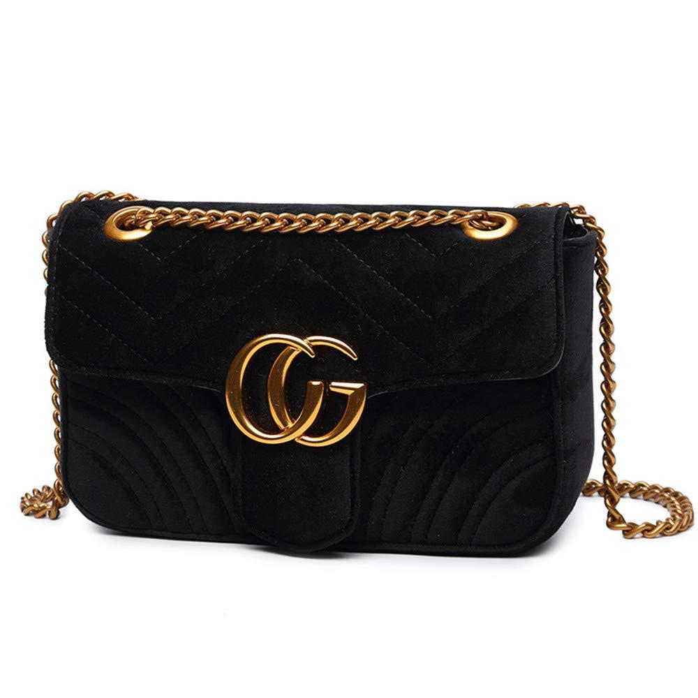 Fashion Shoulder Bag Leather Crossbody Lattice Handbag Quilted Purse for Woman Teen Girls (Black Velvet Large)
