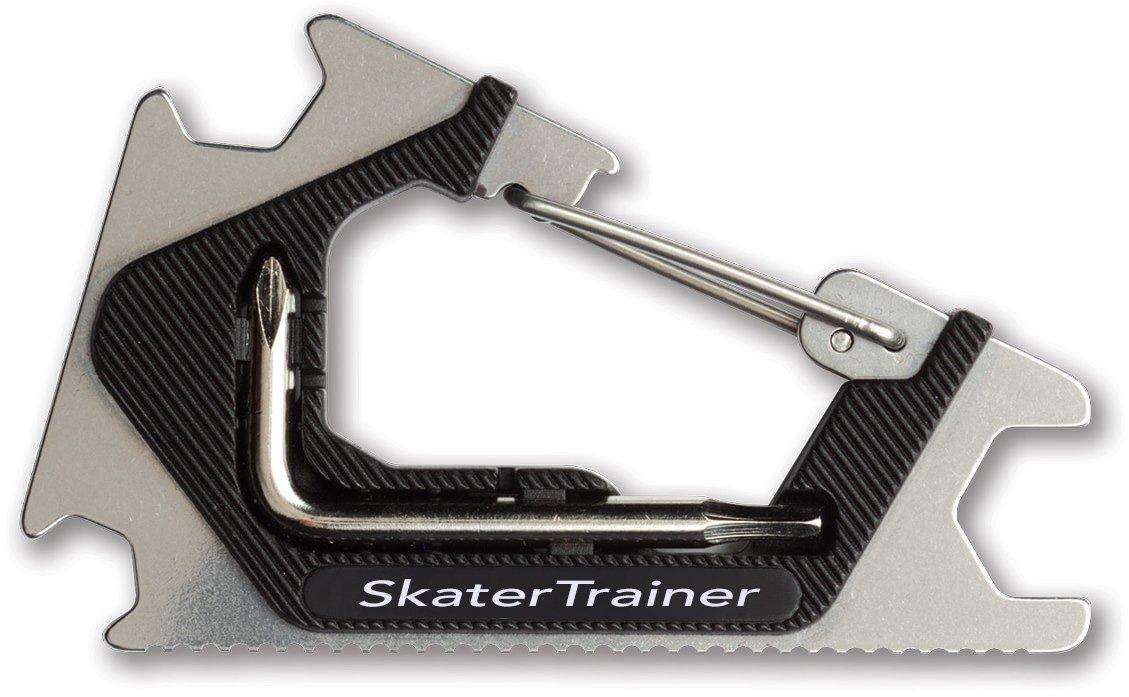 Tasca skate Tool |clip it on & always have | Design metallo | regolare tutto sul vostro skateboard, longboard, o Penny Cruiser Board skateboard con questo strumento | Great gift for any skater, Silver / Black SkaterTrainer