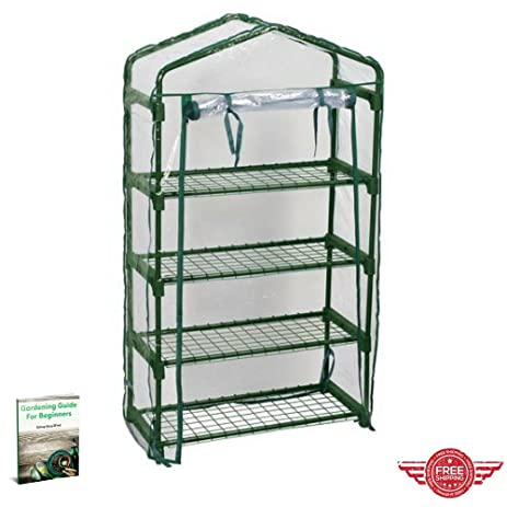 Garden Rack Plants Weather Protection Covered Shelving Cover Tent Folding  Zipped Door Steel Shelves Outdoor Garden