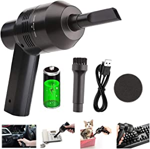 Intsun Keyboard Cleaner Mini Powerful Keyboard Vacuum USB Cordless Computer Vacuum Cleaner with 2 Vacuum Nozzles & 2 Washable Filters for Laptop, Piano, Computer, Car, Makeup Bag, Pet House