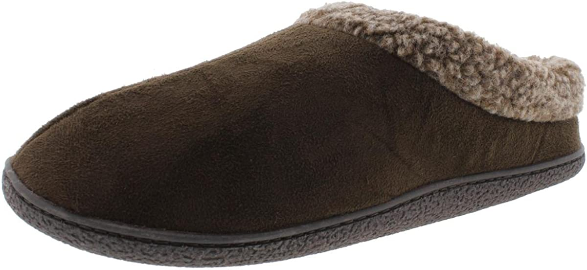 Large Faux-Fur Roll-Collar Clogs 32 Degrees Heat by Weatherproof Mens Slippers