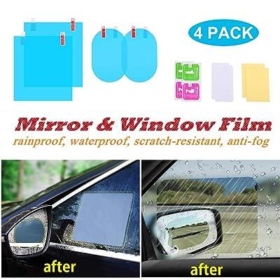 ENJU 4 Pcs Car Rearview Mirror Film Anti Fog Glare Rainproof Waterproof Mirror Film HD Clear Nano Coating Car Film for Car Rear View Mirrors and Side Windows: Automotive