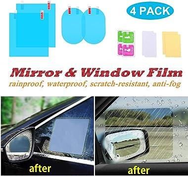 8 Pieces Car Rearview Mirror Film Anti Fog Glare Rainproof Waterproof Mirror Film HD Clear Nano Coating Car Film for Car Rear View Mirrors Side Windows