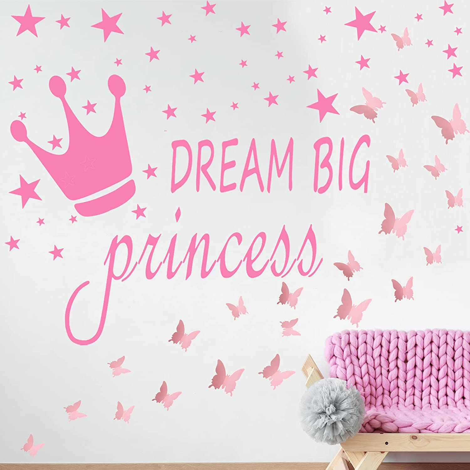 Dream Big Princess Bedroom Decals 3D Butterfly Stickers Vinyl Wall Stickers for Kids Baby Girls Bedroom Pink Butterflies Wall Stickers Wall Art Quotes for Home and Room Decoration