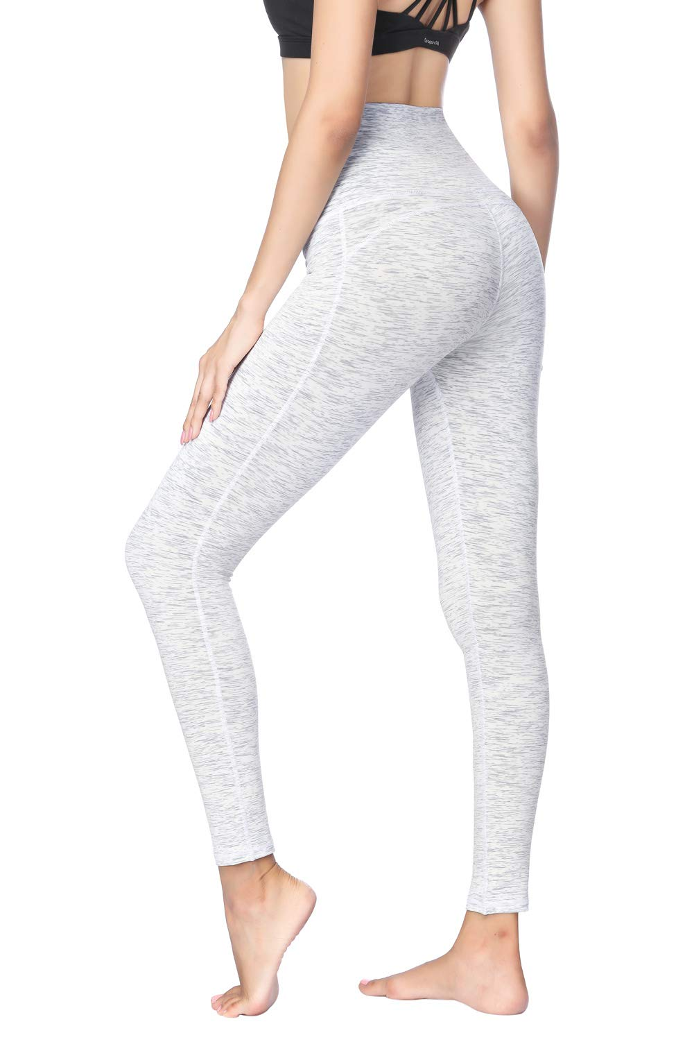 Dragon Fit Compression Yoga Pants Power Stretch Workout Leggings High Waist Tummy Control (Small, Ankle-Space dye White)