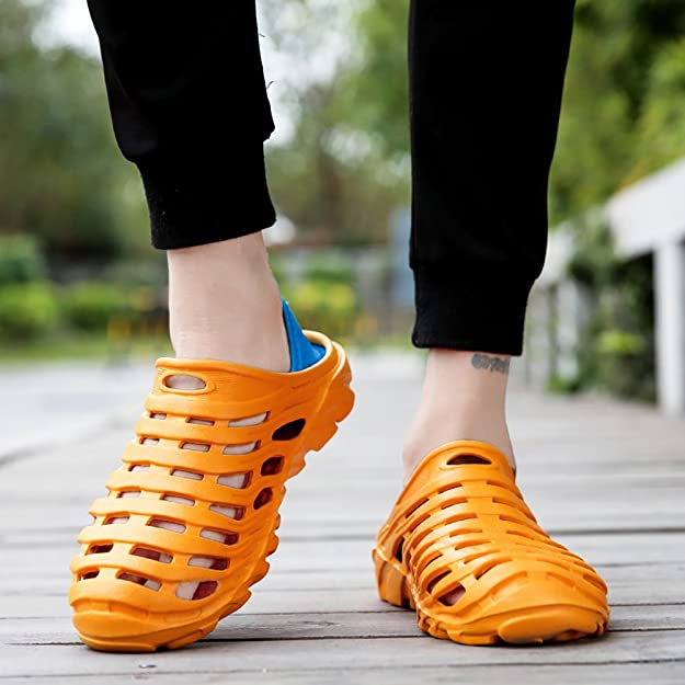 Kqpoinw Sandali da Passeggio Unisex Leggero e Traspirante Zoccoli da Giardino Antiscivolo Asciugatura Rapida Sport all'Aria Aperta Scarpe da Spiaggia (7 UK Men/7.5 UK Women = 42 EU, Arancia)