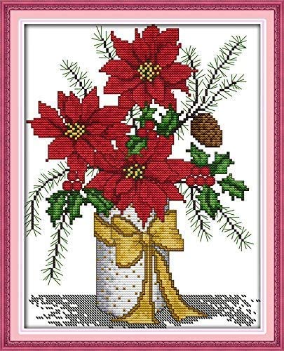 Happy Forever Cross Stitch Kits 11CT Stamped Patterns for Kids and Adults Flower Vase H334 Poppy, Size 15x18 Preprinted Embroidery kit for Beginner