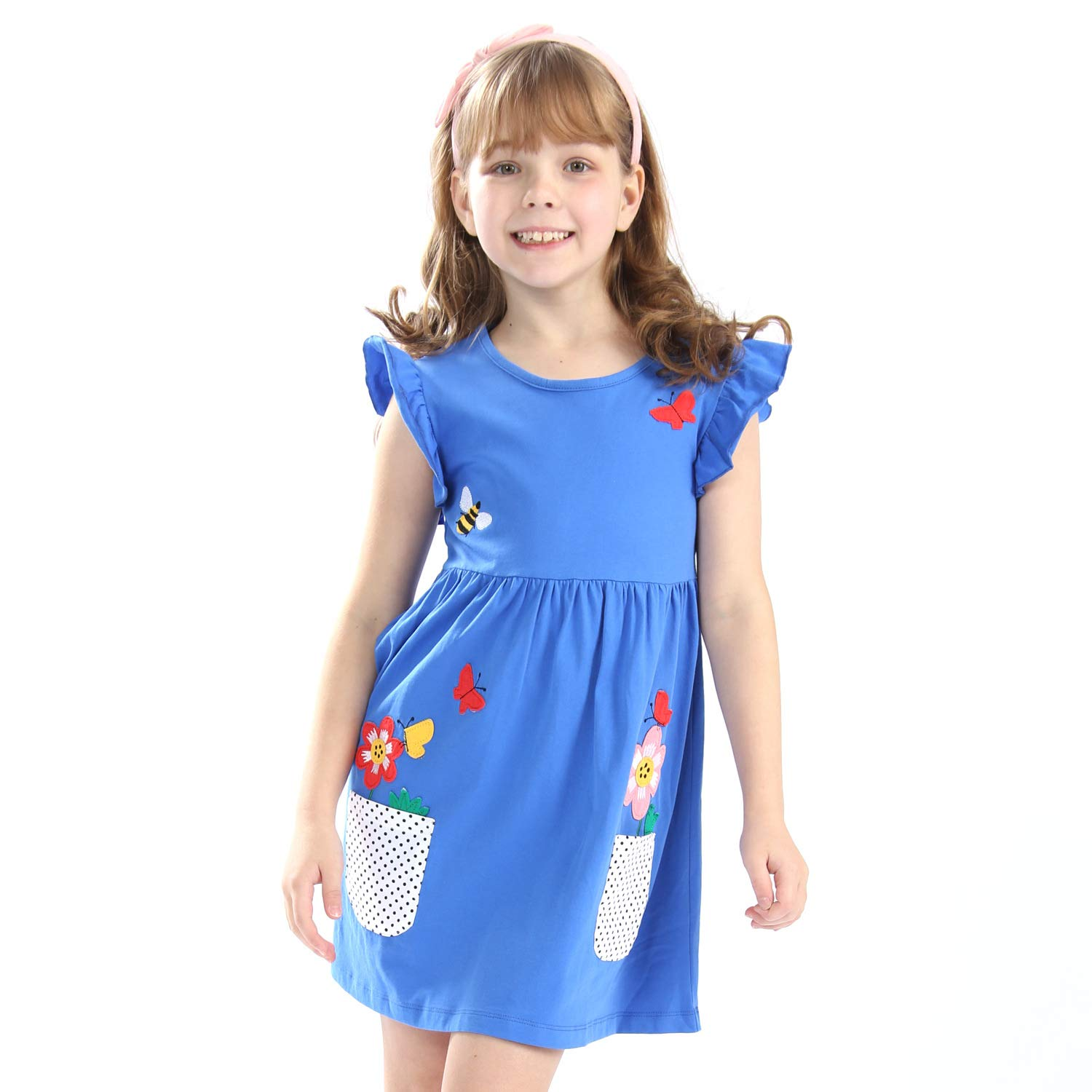 Mrsrui Little Girls Cotton Dress Short Sleeves Casual Summer Striped Printed Shirt Blue by Mrsrui