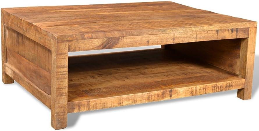Anself Table Basse En Manguier Table Basse De Salon Carree Amazon