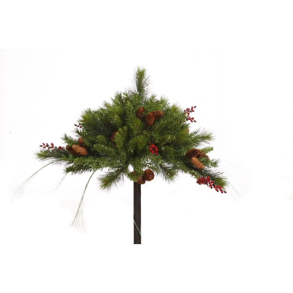 Vickerman 16 Mixed Berry and Cone Urn Filler with 100 Clear Lights G121346