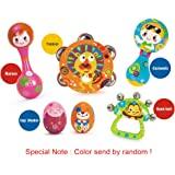 VATOS Early Educational Musical Instrument set of 6 ABS Adorable Animal Drum Rattle Egg Shaker Top Selling Baby Gifts for Toddler Baby Kids Music Gift Sets Easy for Baby Handle Cartoon Musical Gift