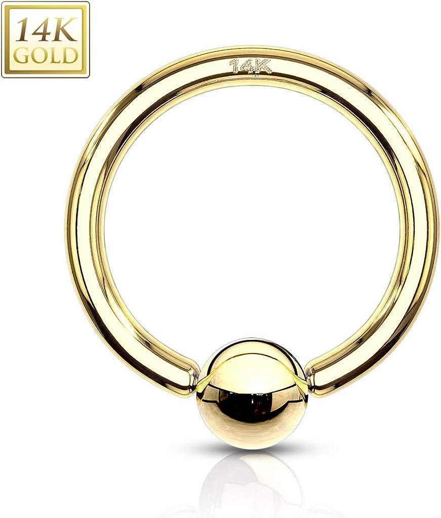 14K  Solid Gold Captive Bead Ring Hoop CBR  14 18 Gauge Body Jewelry C92 16