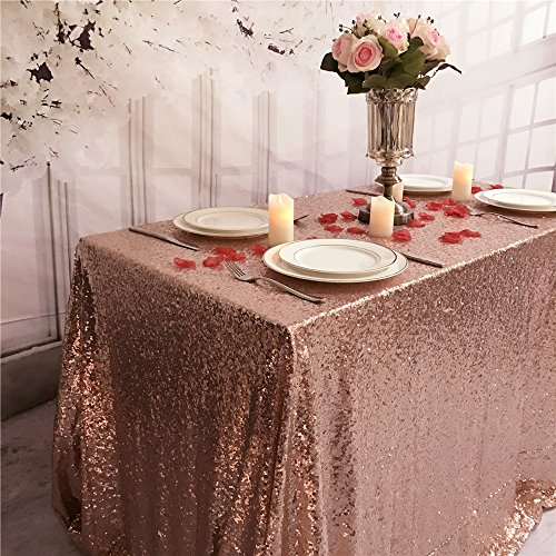 TRLYC One Piece Design Sequin Table Cloth 55 by 80 Inch Shinny Tablecloth Wedding Table Decor Rose Gold Sequin Table - Gold Rose Overlay