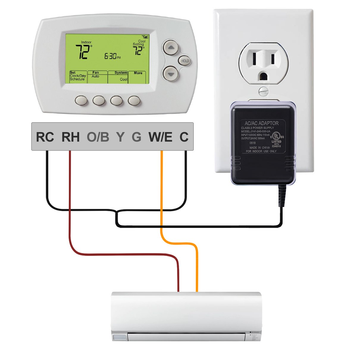 Ac24v C Wire Power Adapterlammu 24v Transformer Requires Honeywell Thermostat Wiring Wifi Nest