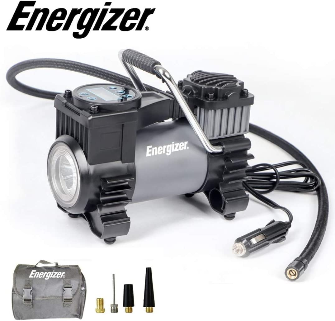 Energizer Portable Air Compressor Tire Inflator, 12V DC Air Pump for Car Tires with Auto Shut Off Function - 120 Max PSI, Preset Pressure Feature, Led Lighting, Digital LCD Display, and Carrying Case: Automotive