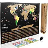 #3: Landmass Scratch Off World Map Poster. Original Travel Tracker Map Print w/ Flags, US states outlined. Clean design and vibrant colors to make your story come to life. The gift travelers want.