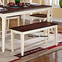 Poundex Contemporary Cherry Cream Two Tone Finish Dining Room Bench