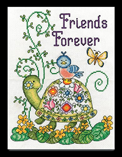 Tobin 407377 Friends Forever (Turtle) Counted Cross Stitch Kit-8 by 10-Inch 14 Count ()