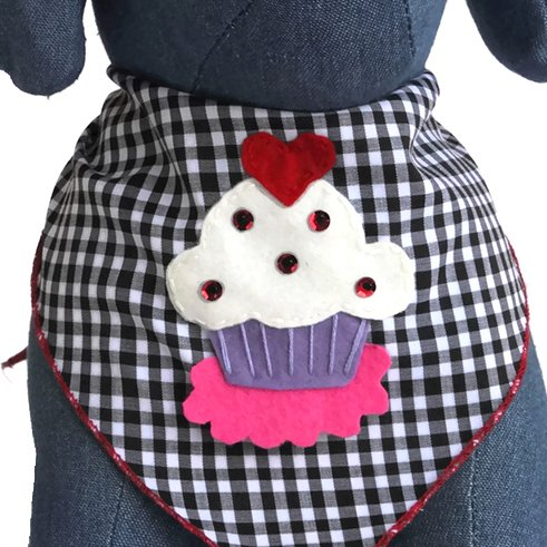 Picture of Tail Trends Valentines Day Dog Bandanas with Cupcake Love Design Fits Medium to Large Sized Dogs - 100% Cotton (M)