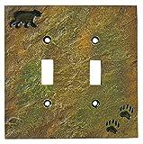 bear light switch plate - Big Sky Carvers 30170440 Bear and Tracks Double Switch Plate