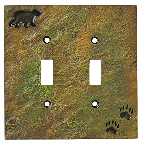 Big Sky Carvers 30170440 Bear and Tracks Double Switch Plate