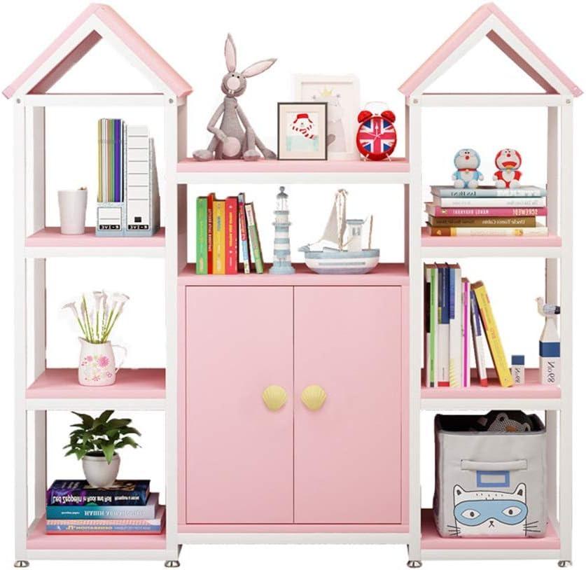 本の陳列台 子供のおもちゃの棚-Perfect玩具ストレージソリューション子どもの本棚プレイルームとクラスルーム 大量の文庫本を保管できます (色 : ピンク, サイズ : 121.5x30x120cm)