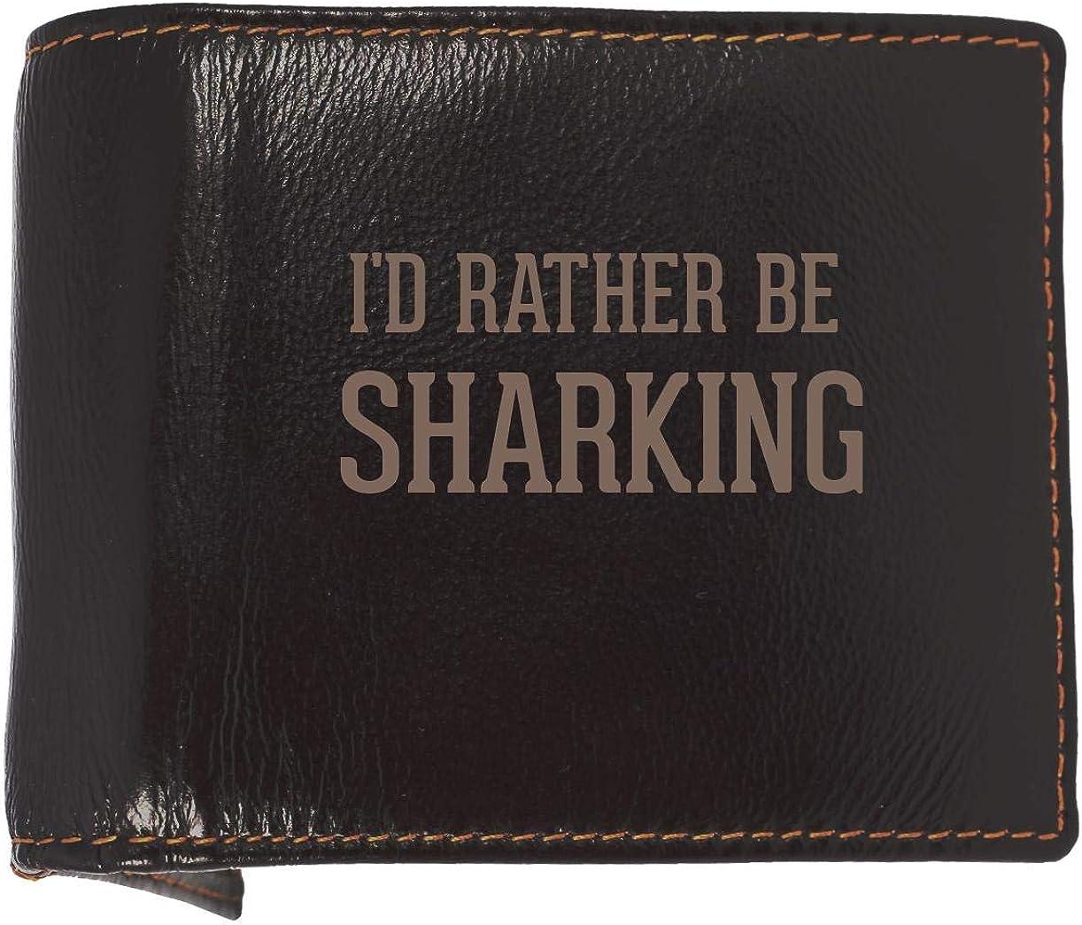 I'd Rather Be SHARKING - Soft Cowhide Genuine Engraved Bifold Leather Wallet