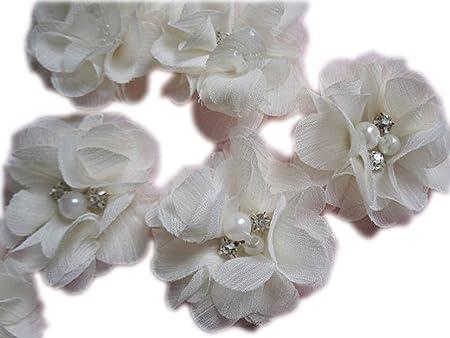 Nelli Collection Rhinestone Flower Chiffon Flowers U Choose Colors Folded Chiffon Rhinestone Flower Folded Ballerina Tutu Flower