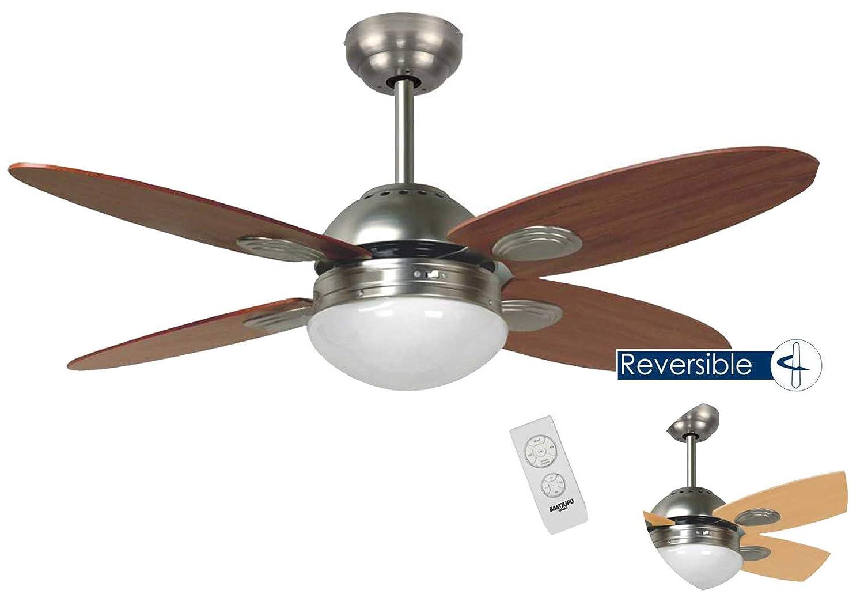 Bastilipo Bermeo Ventilador Techo con Mando A Distancia E27, 60 W, Níquel 105 X 41 cm: Amazon.es: Iluminación