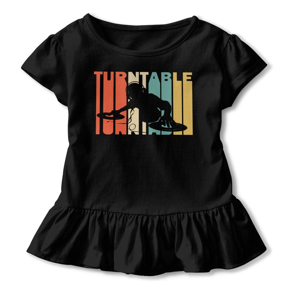 Short Sleeve Retro Style DJ Turntable Silhouette Shirts for Girls 2-6T Ruffled Sweatshirt with Falbala