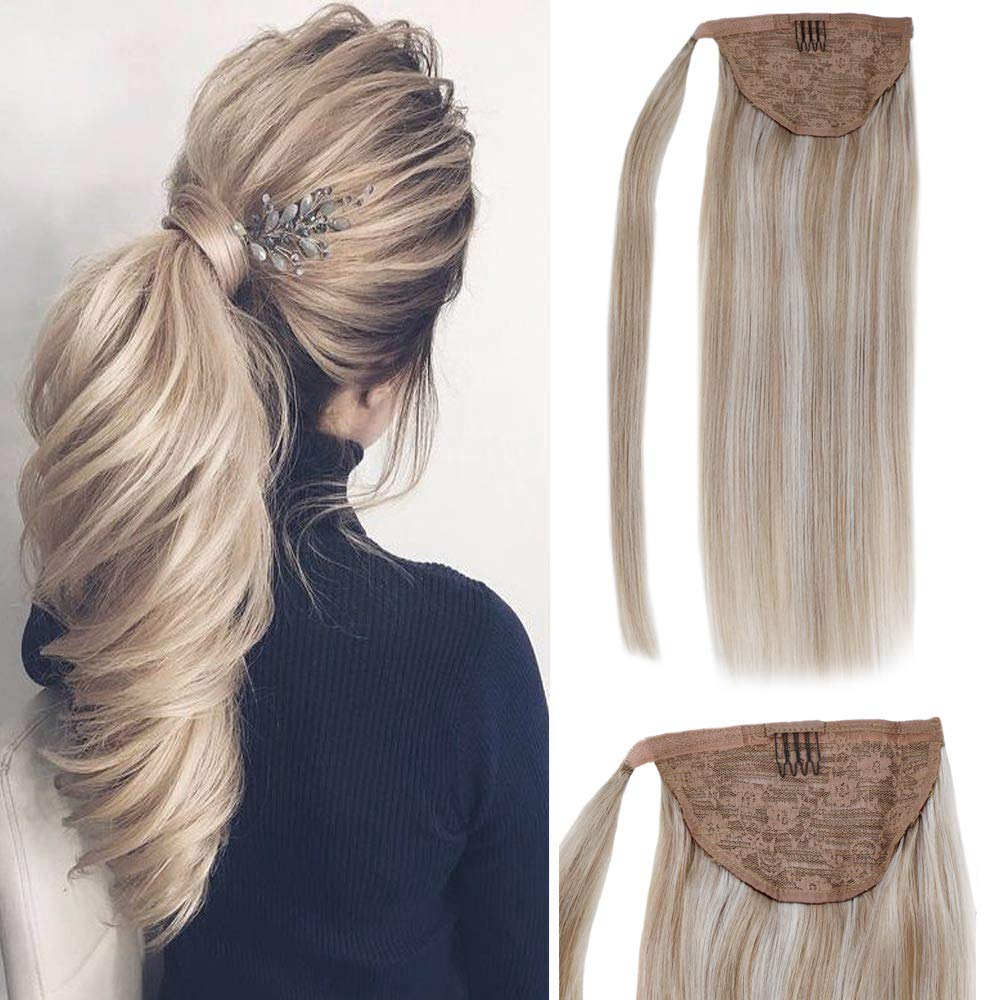 LaaVoo Clip in Ponytail Wrap Around Hairpieces Binding Human Hair Extensions in Highlight Color Strawberry Blonde With Light Blonde Drawstring European Straight Pony Tail With Clip in Comb 70g 14'' by LaaVoo