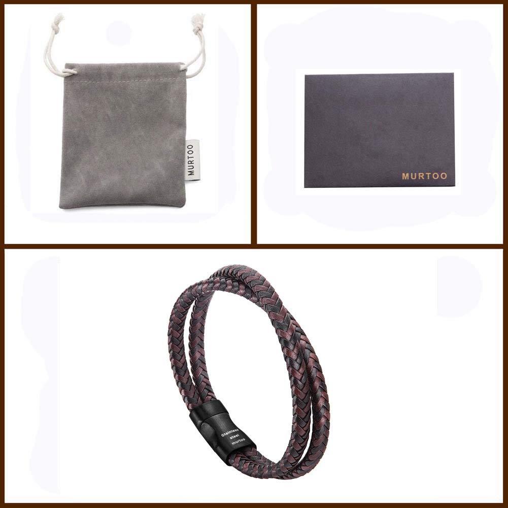 murtoo Bracelet en Cuir pour Hommes Bracelet tiss/é avec Joint en Acier Inoxydable magn/étique avec Emballage Cadeau Parfait