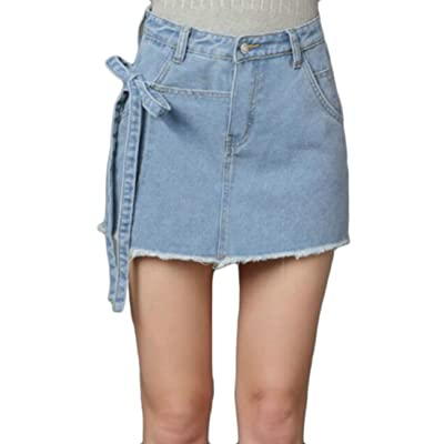 Papijam Womens Summer Cut Off Bow Drawstring Jeans Skirt Denim Shorts