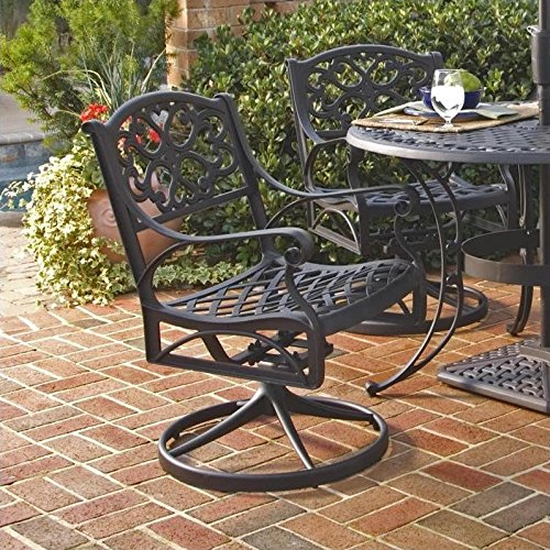 Home Style 5554-53 Biscayne Swivel Outdoor Arm Chair, Black Finish Swivel Outdoor Lounge Chair