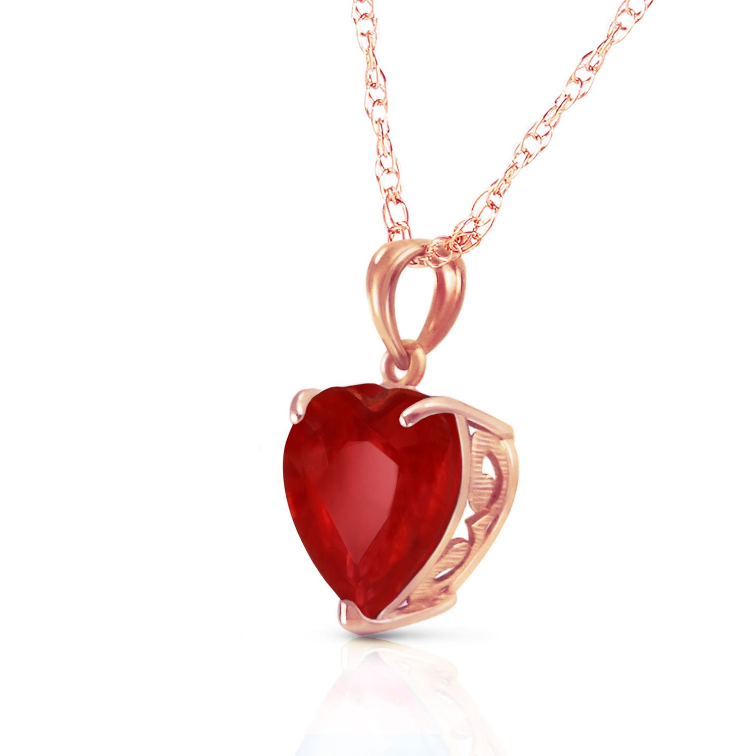 14k Solid White, Yellow, Rose Gold Necklace with Heart Shaped 10 mm 4.3 Carat Natural Red Ruby 5662 (16.00, Rose-Gold)