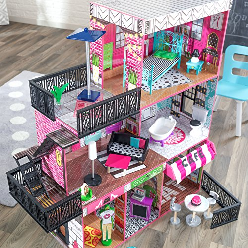61sJa6Pt3AL - KidKraft So Chic Dollhouse with Furniture
