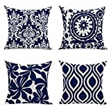 Tecrest Pack of 4 European Style Decorative Cushion Cases Super Soft Plush Vintage Floral Throw Pillow Covers