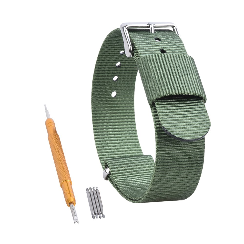 RANDON 腕時計用替えバンド NATO ベルト バリスティックナイロン ステンレス鋼バックル付き 22mm グリーン グリーン 22mm B01N7TIIKS