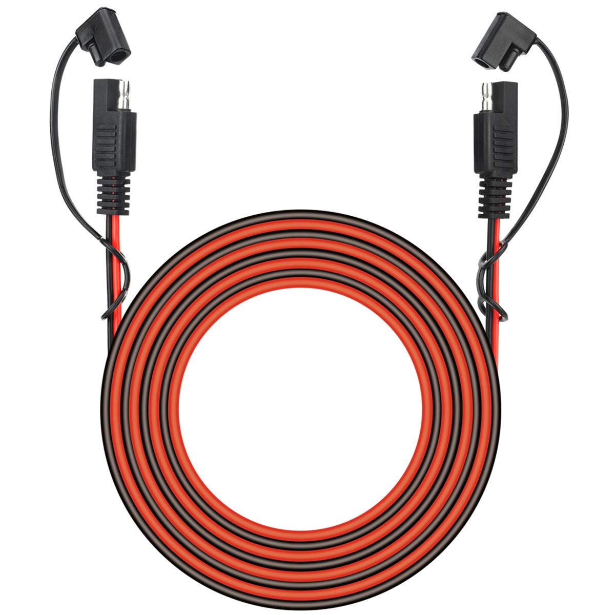25 Foot SAE to SAE 2 Pin Quick Disconnect Harness,DC 12V Power Connector Plug Battery Charger SAE Power Extension Cable for Motorcycle,Car,Tractor,18 AWG Gauge + Dust Cap by muyimu