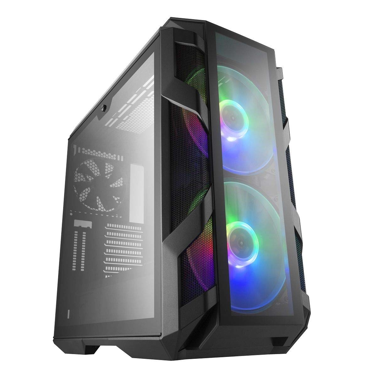 Cooler Master MasterCase H500M ATX Mid-Tower, four tempered glass panels, two 200mm ARGB fans with Controller and three Cable Management Covers Case