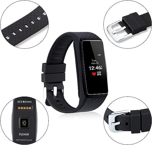 Inchor WriSTFit Hr - Impermeable Ajustable Smartwatch Reloj de Pulsera Android Ios (Pantalla Oled, Bluetooth, Ritmo Cardíaco, Podómetro, Monitor del Sueño, Recordatorio de Llamada y Mensaje) (Negro): Amazon.es: Electrónica