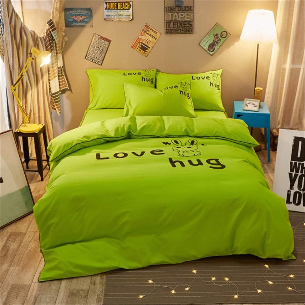 DUJUN Conjunto de Ropa de Cama de Dibujos Animados de Dormitorio de Personalidad de Color sólido (Funda nórdica + sábanas + Funda de Almohada) A-10 ...