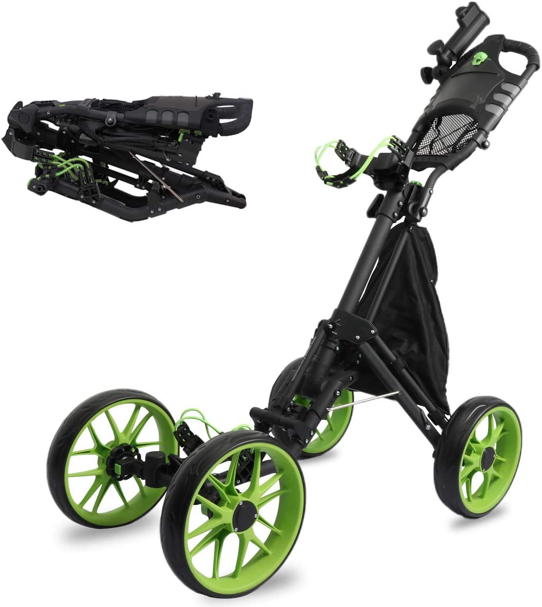 MEARTEVE 4 Wheel Golf Push Pull Cart, One Click Folding Compact Golf Push Cart with Umbrella Stand, Foot Brake, Smooth Wheel, Storage Bag, Scorecard Holder Space for Placing Golf Bag