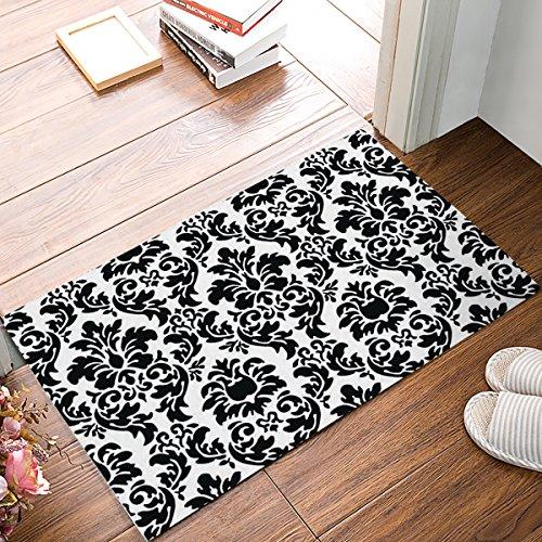 Black and White Damask Fabric Door Mat Rug Indoor/Outdoor/Front Door/Shower Bathroom Doormat, Non-Slip Doormats, 18-Inch by 30-Inch]()