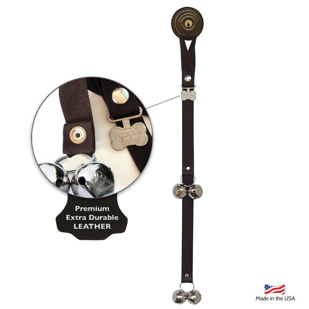 PoochieBells Authentic Premium Leather Edition Housetraining Dog Doorbells, Solid Black
