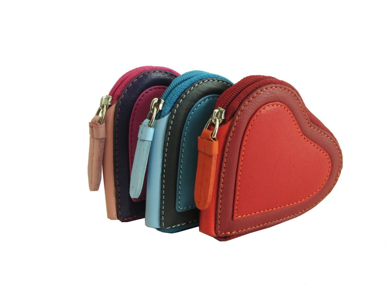 Visconti Capri RB59 Multi Colored Heart Shaped Ladies/ Girls Leather Coin Purse Key Wallet With Key Chain (Red)