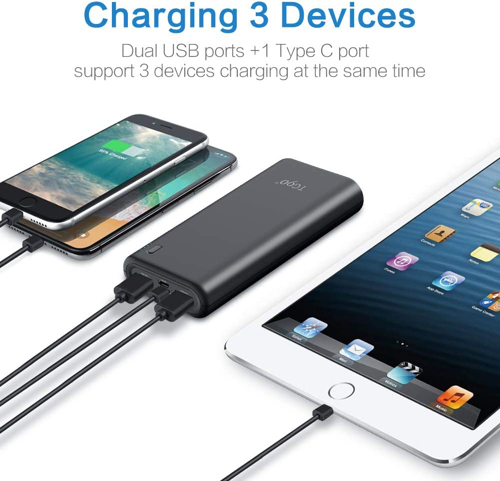 Cell Phone Portable Charger TG90 Power Bank 20000mah External Battery Packs, 18W PD Fast Charging USB-C Power Delivery Battery Bank Portable Battery Charger Compatible with iPhone iPad Android Phones