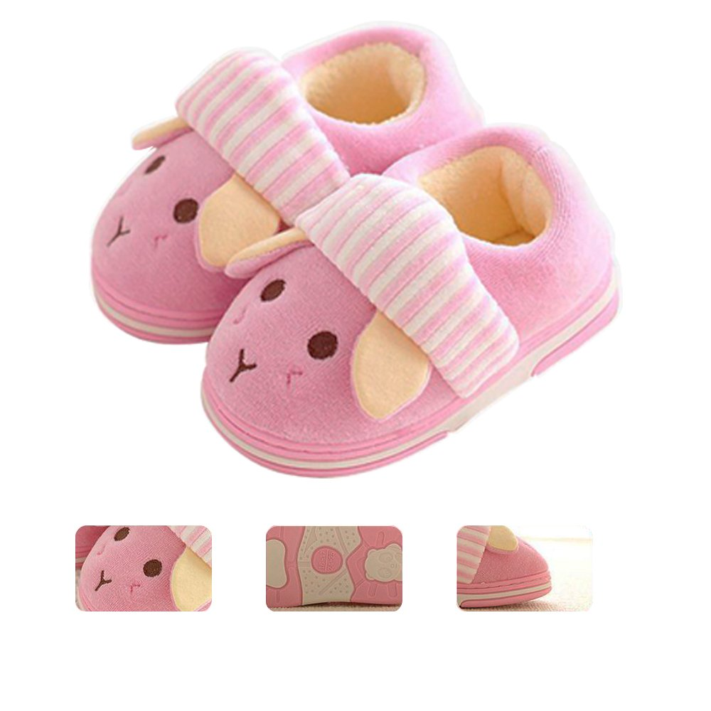 JILIGUALA Kids Cute Bunny Cotton Plush Warm House Slippers Non-Slip for Toddler Little Kid