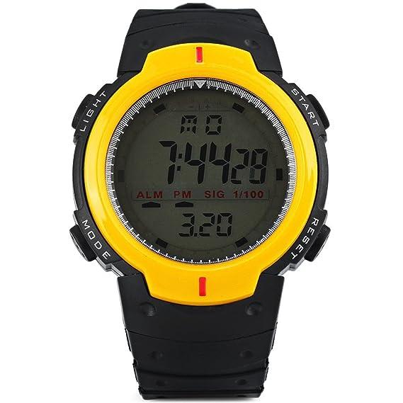 Leopard tienda Militar LED reloj deportivo Alarma con luz Mes Día Semana Amarillo: Amazon.es: Relojes
